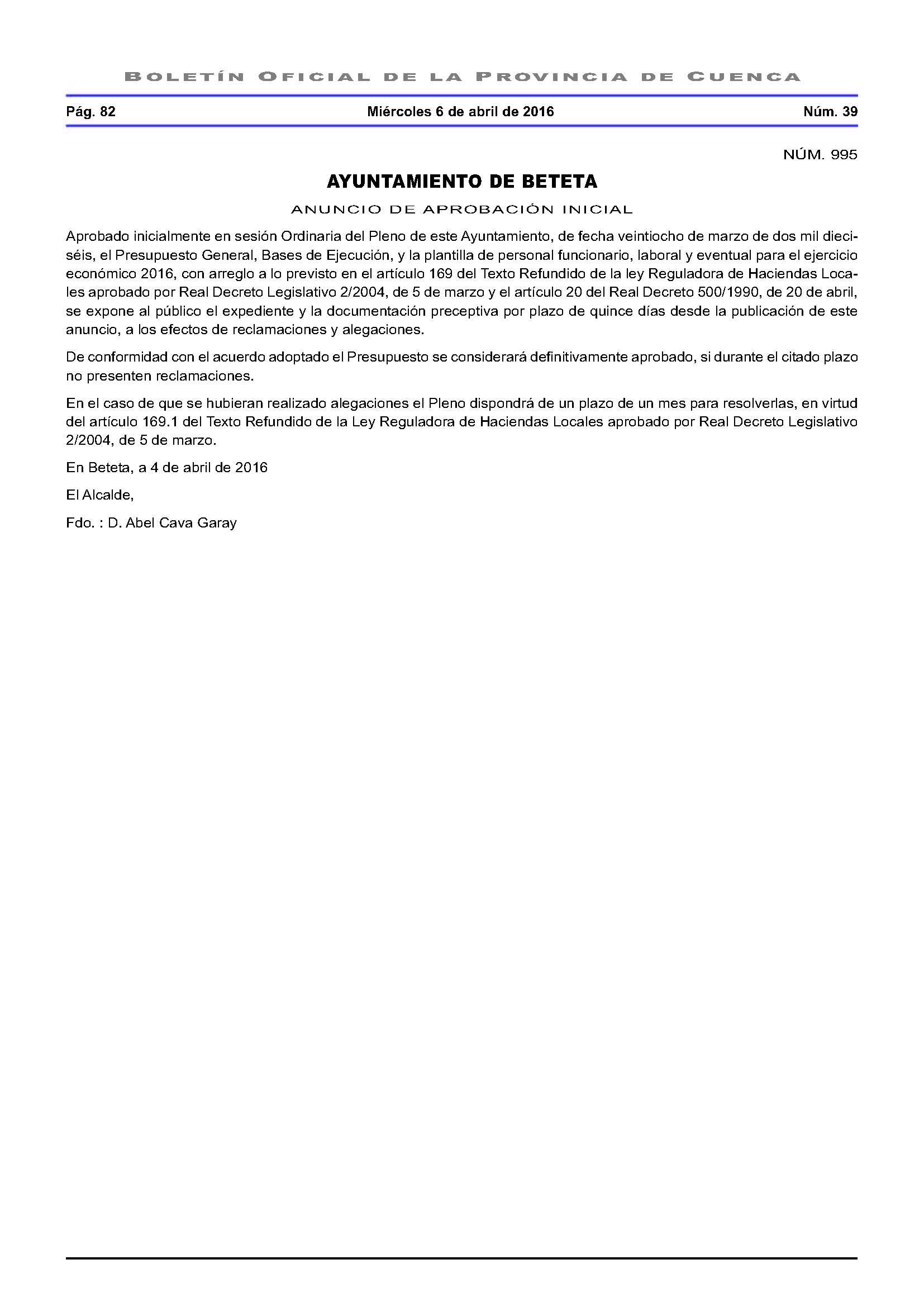 anuncio aprobacion presupuesto